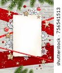 holiday christmas card with fir ... | Shutterstock .eps vector #756541513