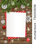 holiday christmas card with fir ... | Shutterstock .eps vector #756543058
