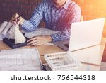 concept architects engineer... | Shutterstock . vector #756544318