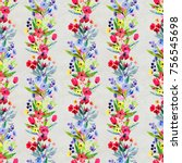 floral watercolor seamless... | Shutterstock . vector #756545698