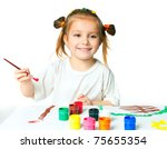little girl with a brush and paints - stock photo