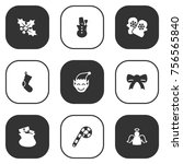 set of 9 holiday icons set... | Shutterstock .eps vector #756565840