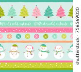 cute snowman and christmas tree ... | Shutterstock .eps vector #756569020