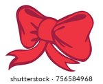 bright red bow   for christmas... | Shutterstock .eps vector #756584968
