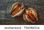 mahogany seed pod on rustic... | Shutterstock . vector #756586516