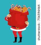 santa claus and bag of cookies... | Shutterstock .eps vector #756596464