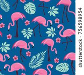 vector seamless pattern with... | Shutterstock .eps vector #756598954