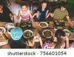 group of friend pray before... | Shutterstock . vector #756601054