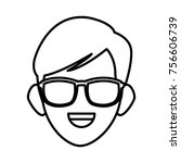 man face with sunglasses | Shutterstock .eps vector #756606739