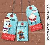 set of new year sale tags with... | Shutterstock .eps vector #756613156