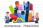 businessman and businesswoman... | Shutterstock .eps vector #756623263