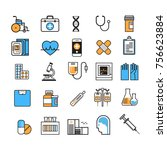 medical icon set thin line... | Shutterstock .eps vector #756623884
