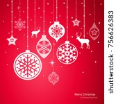 christmas decorations. vector... | Shutterstock .eps vector #756626383