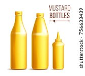mustard bottle set. realistic... | Shutterstock . vector #756633439