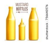 mustard bottle set vector.... | Shutterstock .eps vector #756640576