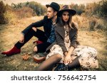autumn fashion. beautiful... | Shutterstock . vector #756642754