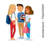 group of pupils | Shutterstock .eps vector #756643369