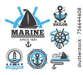 marine and nautical logo... | Shutterstock .eps vector #756644608
