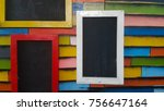 red  yellow and white frame on... | Shutterstock . vector #756647164
