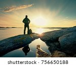 hiker man in dark sportswear... | Shutterstock . vector #756650188