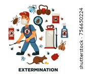 extermination or pest control... | Shutterstock .eps vector #756650224