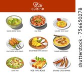 thai cuisine food and... | Shutterstock .eps vector #756650278