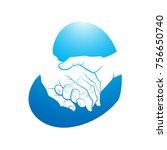 elder hand on young hand in... | Shutterstock .eps vector #756650740