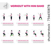workout with mini band. fitness ... | Shutterstock .eps vector #756650878