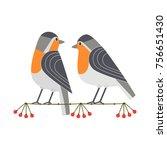 Cute Robin Birds Icon. Freehan...