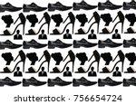 black shue shadow | Shutterstock . vector #756654724