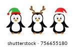 christmas theme. three little... | Shutterstock .eps vector #756655180