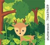 little deer in the forest... | Shutterstock .eps vector #756659659