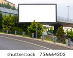 large blank billboard for... | Shutterstock . vector #756664303