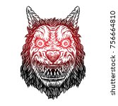angry smiling cunning wolf... | Shutterstock .eps vector #756664810