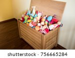 toy box full of soft toys in a... | Shutterstock . vector #756665284