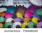 lao people selling colorful... | Shutterstock . vector #756668260