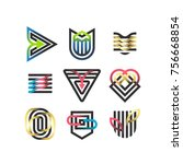 vector set of abstract... | Shutterstock .eps vector #756668854