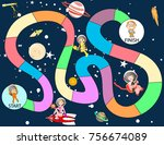 a board game with astronaut and ... | Shutterstock .eps vector #756674089