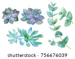 watercolor illustration with... | Shutterstock . vector #756676039