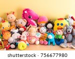 soft toys in a child's bedroom | Shutterstock . vector #756677980