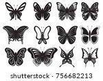 butterflies  black silhouettes... | Shutterstock . vector #756682213