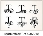 vintage set . capital letter t... | Shutterstock .eps vector #756687040