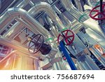 equipment  cables and piping as ... | Shutterstock . vector #756687694