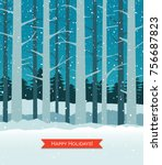 woods in winter with falling...   Shutterstock .eps vector #756687823