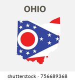 flag and map of ohio. vector... | Shutterstock .eps vector #756689368