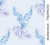 seamless pattern of a beautiful ... | Shutterstock . vector #756690253