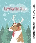 new year card with the symbol... | Shutterstock .eps vector #756692236