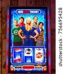 Small photo of LAS VEGAS, USA - SEP 21, 2017: Leonard, Sheldon, Penny, Howard and Rajesh, The Big Bang Theory, American TV sitcom, image on the casino machine in Excalibur Hotel in Las Vegas
