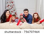 parents with kids in a... | Shutterstock . vector #756707464