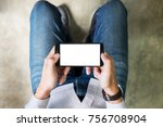 closeup of teenager playing... | Shutterstock . vector #756708904